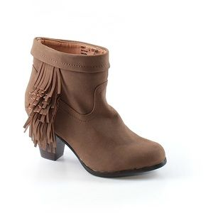 Brown ankle booties with tassel